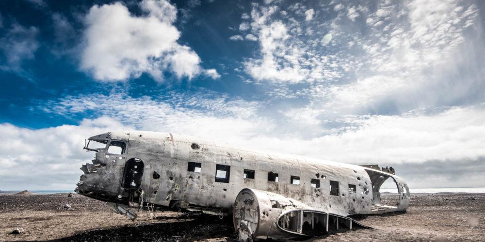 Wandbild Plane Wrack Iceland