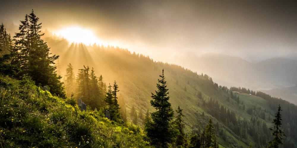 Wandbild Rossbrand Radstadt Nebelstimmung-Sonnenuntergang